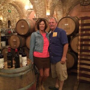 Couple on a wine cellar