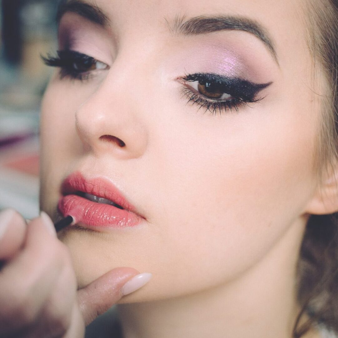 Makeup application on a girl